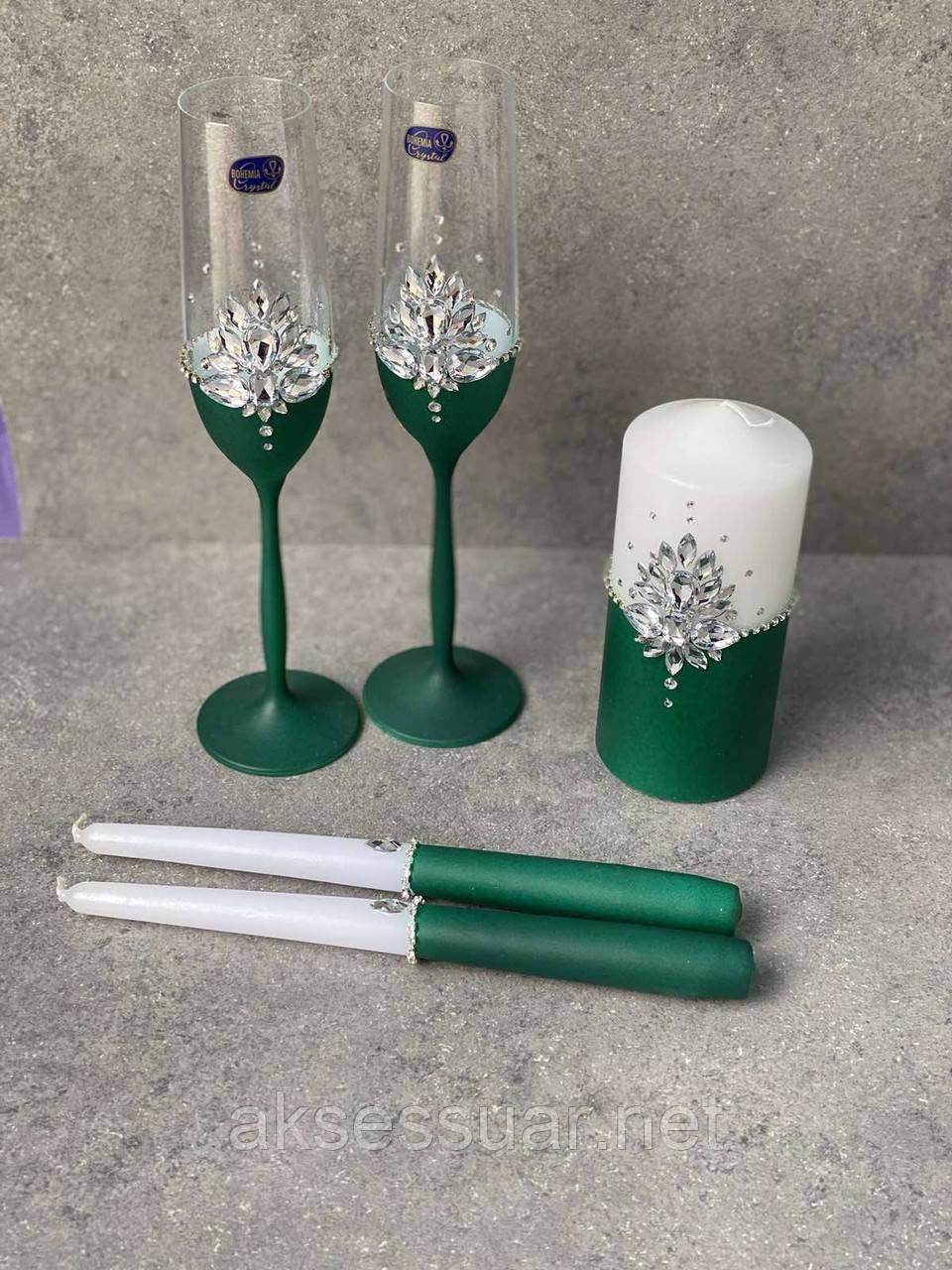 Набор свадебных аксессуаров бокалы и свечи
