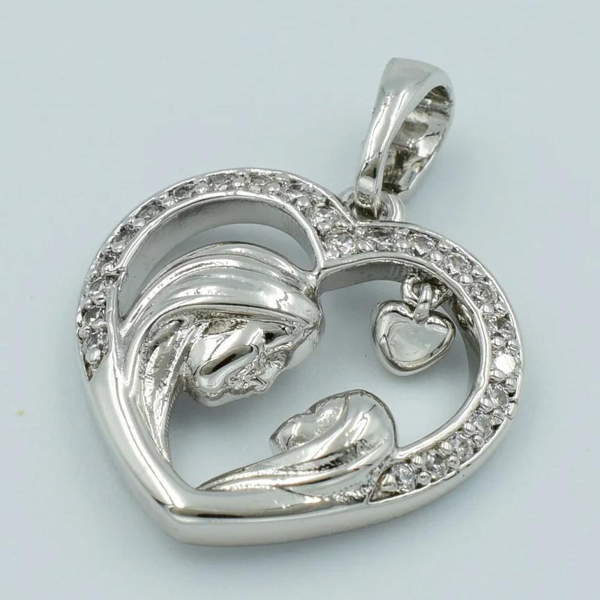 XUPING Кулон Родий сердечко Мамина любовь с белыми цирконами  Ширина 1.6см, Длина 2.1см