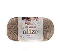 Пряжа Baby Wool 50гр - 175м (75  Бежевый) Alize, Детская пряжа (40%-шерсть, 20%-бамбук, 40%-акрил,Турция
