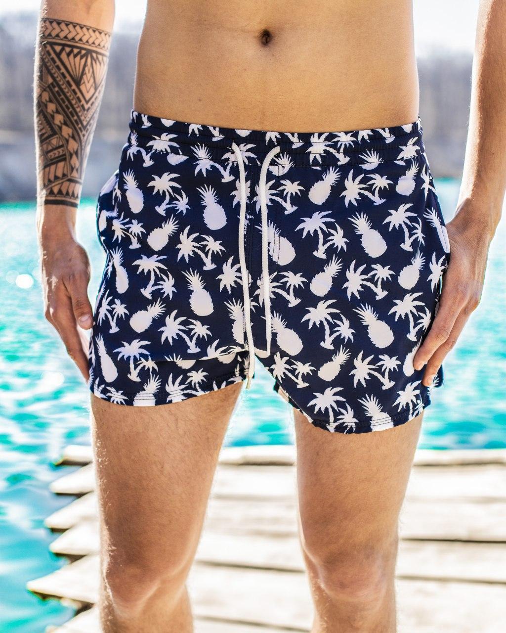 Шорти чоловічі купальні swimming shorts Pool day Ananas White сині