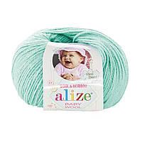 Пряжа Baby Wool 50гр - 175м (19 Зеленый) Alize, Детская пряжа (40%-шерсть, 20%-бамбук, 40%-акрил,Турция