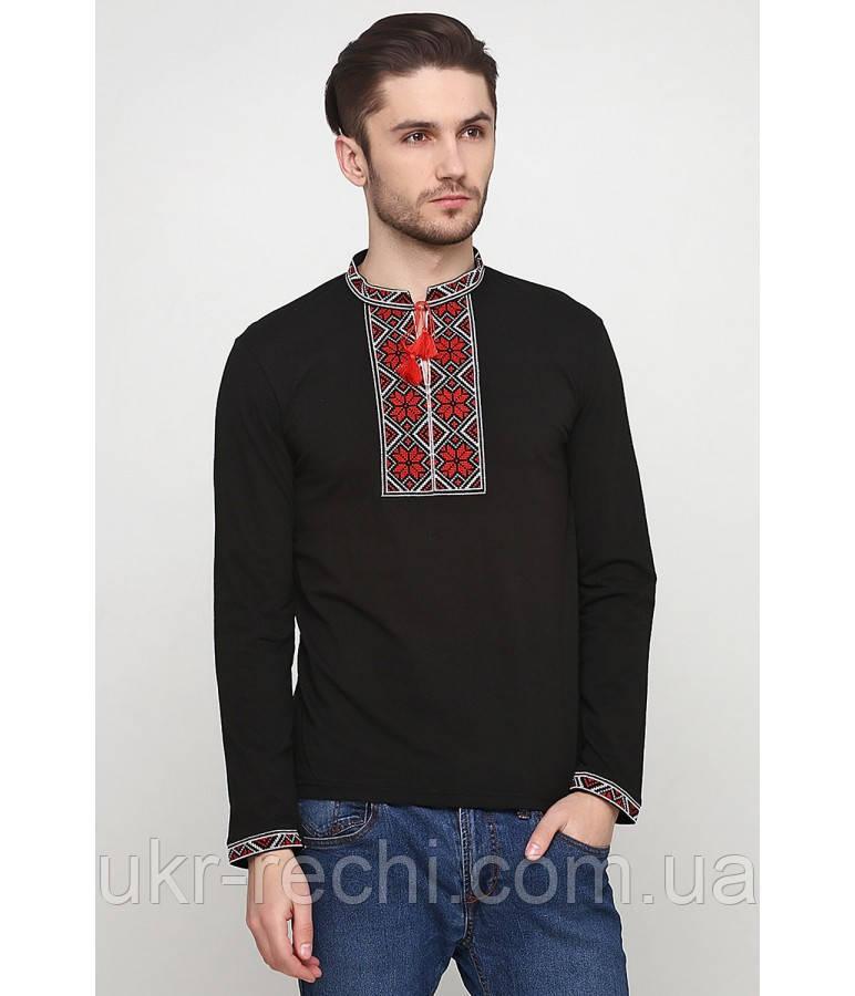 Чорна футболка з довгим рукавом, вишита хрестиком «Народна»-2