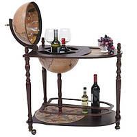 Глобус бар со столиком для алкоголя и напитков коричнево-кремовый