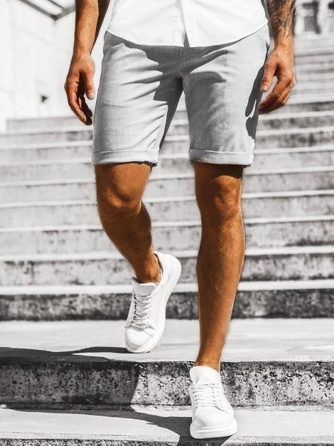 Мужские шорты серого цвета с подворотом