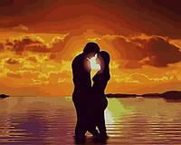 Картина по номерам 40×50 см. Babylon Красивый закат на пляже для Влюбленной Пары (VP 1226)