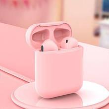 Беспроводные наушники  In Pods 12 Macaron Розовые  в стиле Apple AirPods сенсорные с кейсом