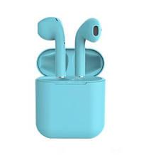 Беспроводные наушники  In Pods 12 Macaron Голубые в стиле Apple AirPods сенсорные с кейсом