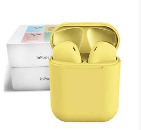 Беспроводные наушники  In Pods 12 Macaron Жёлтые  в стиле Apple AirPods сенсорные с кейсом