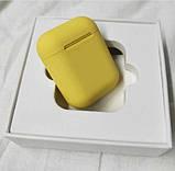 Беспроводные наушники  In Pods 12 Macaron Жёлтые  в стиле Apple AirPods сенсорные с кейсом, фото 7