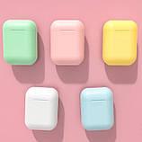 Беспроводные наушники  In Pods 12 Macaron Жёлтые  в стиле Apple AirPods сенсорные с кейсом, фото 8