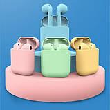 Беспроводные наушники  In Pods 12 Macaron Жёлтые  в стиле Apple AirPods сенсорные с кейсом, фото 9