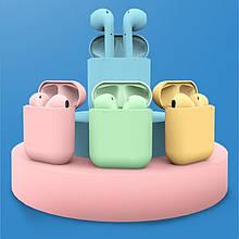 Беспроводные наушники  In Pods 12 Macaron  в стиле Apple AirPods сенсорные с кейсом