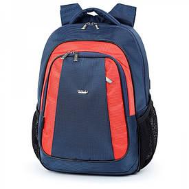 Шкільний рюкзак з щільною спинкою синій 518