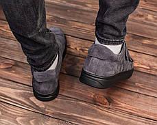 Мужские замшевые слипоны-кеды серого цвета на липучке, фото 3