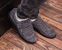 Мужские замшевые слипоны-кеды серого цвета на липучке, фото 2