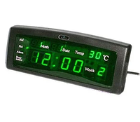 Часы настенные электронные LED Спартак Number Clock 3615 Green