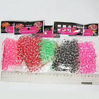 Резинки для плетения, 200шт., сегментные, 5цв. 1 крючок 1 пакет замк, OPP