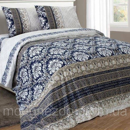 Полуторное постельное белье бязь гост вензель на синем золотом ТМ Блакит  хлопок 120 г/м. кв.