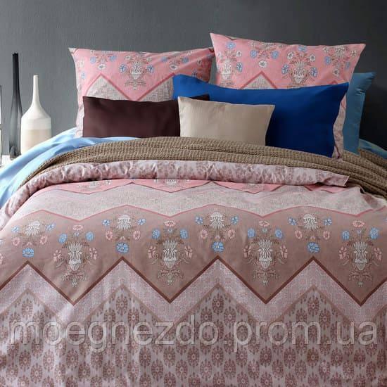 Полуторное постельное белье бязь гост зигзаги на розовом ТМ Блакит  хлопок 120 г/м. кв.