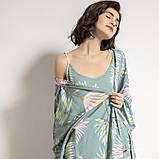 Комплект для сна, дома из 3 предметов. Пижама женская с цветочным принтом, размер M (бирюзовый), фото 4