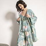 Комплект для сна, дома из 3 предметов. Пижама женская с цветочным принтом, размер M (бирюзовый), фото 2