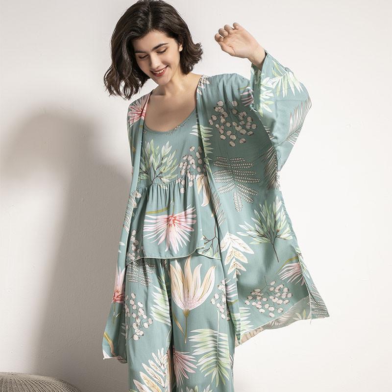 Комплект для сна, дома из 3 предметов. Пижама женская с цветочным принтом, размер M (бирюзовый)