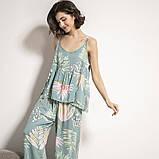 Комплект для сна, дома из 3 предметов. Пижама женская с цветочным принтом, размер M (бирюзовый), фото 5