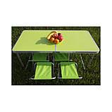 Стол для пикника усиленный с 4 стульями Folding Table, стол туристический складной, 120х60х55 см ( зеленый ), фото 3