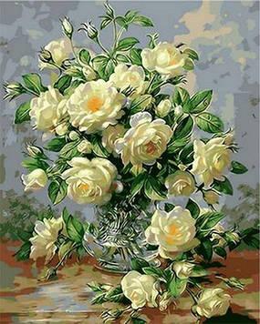 Картина по номерам 50×65 см. Babylon Букет белых роз Художник Уильямс Альберт (QS 1115)