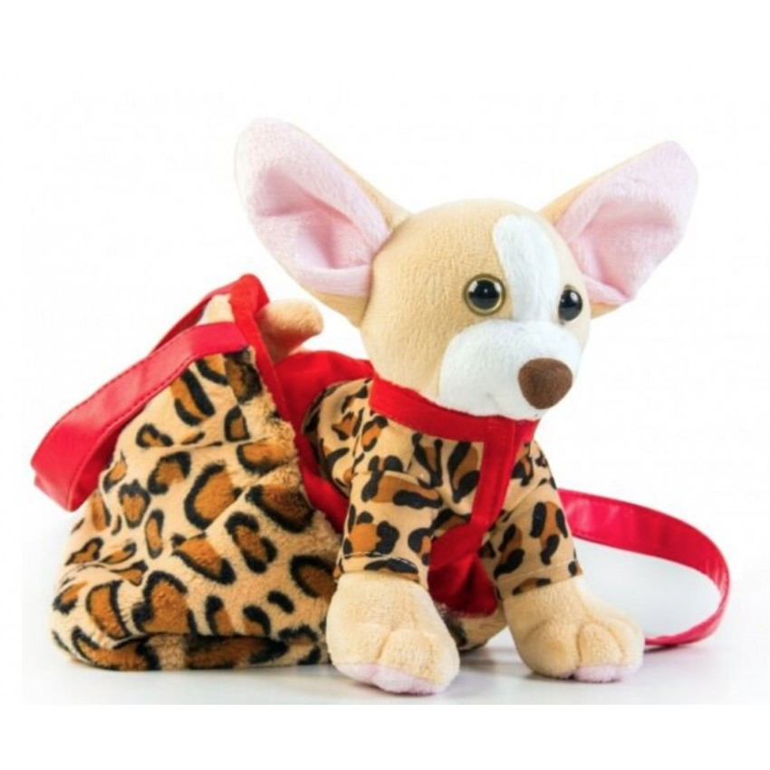 Мягкая игрушка собачка чихуахуа коричневая, с сумочкой в платье Тигрес СО-0102