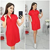 Сукня сорочка вільного крою з кишенями,є БАТАЛ, тканина льон, арт N184, колір червоний / червоного кольору