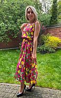 Яркое летнее платье с кружевной спинкой Kiwe.Турция