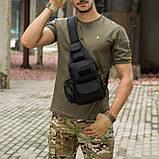 Черная тактическая сумка-рюкзак, барсетка, бананка, однолямочник. + USB выход, фото 2