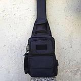 Черная тактическая сумка-рюкзак, барсетка, бананка, однолямочник. + USB выход, фото 4