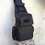 Черная тактическая сумка-рюкзак, барсетка, бананка, однолямочник. + USB выход, фото 5