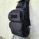 Черная тактическая сумка-рюкзак, барсетка, бананка, однолямочник. + USB выход, фото 6