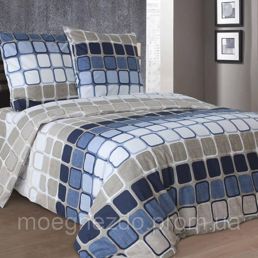 Двуспальное постельное белье бязь гост сине-серое квадраты ТМ Блакит  хлопок 120 г/м. кв.