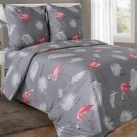 Двуспальное постельное белье бязь гост фламинго на сером ТМ Блакит  хлопок 120 г/м. кв.