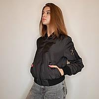 Легкая молодежная куртка ветровка-бомбер из плащевки женская модная от производителя
