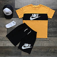 Комплект летний Nike yellow мужской Футболка +  Шорты | ЛЮКС качества, фото 1