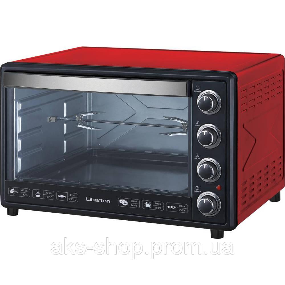 Духовка настольная Liberton LEO-650 Red объем 65л, мощность 2200Вт