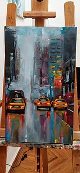 """Картина городской пейзаж """"Ночной Нью-Йорк"""" масло холст на подрамнике 50х30"""