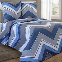 Двуспальное постельное белье бязь гост сине-голубое зигзаги геометрия ТМ Блакит  хлопок 120 г/м. кв., фото 1