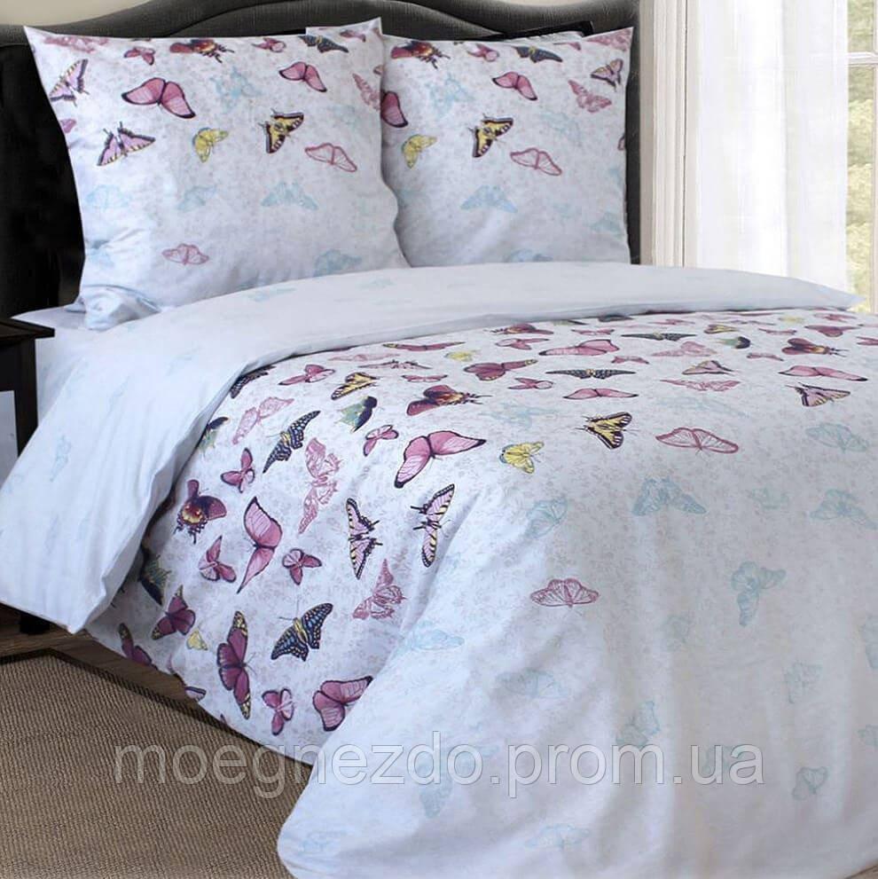 Двуспальное постельное белье бязь гост бабочки ТМ Блакит  хлопок 120 г/м. кв.