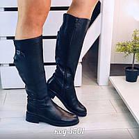 Черные кожаные сапоги 38 размер, фото 1