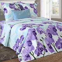 Двуспальное постельное белье бязь гост голубое орхидеи ТМ Блакит  хлопок 120 г/м. кв.