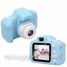 Детский цифровой фотоаппарат с играмиGm14, детская камера ( голубой )
