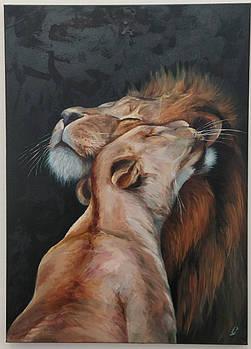 """Картина маслом """"Влюбленные львы"""" холст на подрамнике 50х70"""