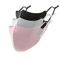 Маски многоразовые на лицо однослойные черная/серая/розовая комплект 3шт.