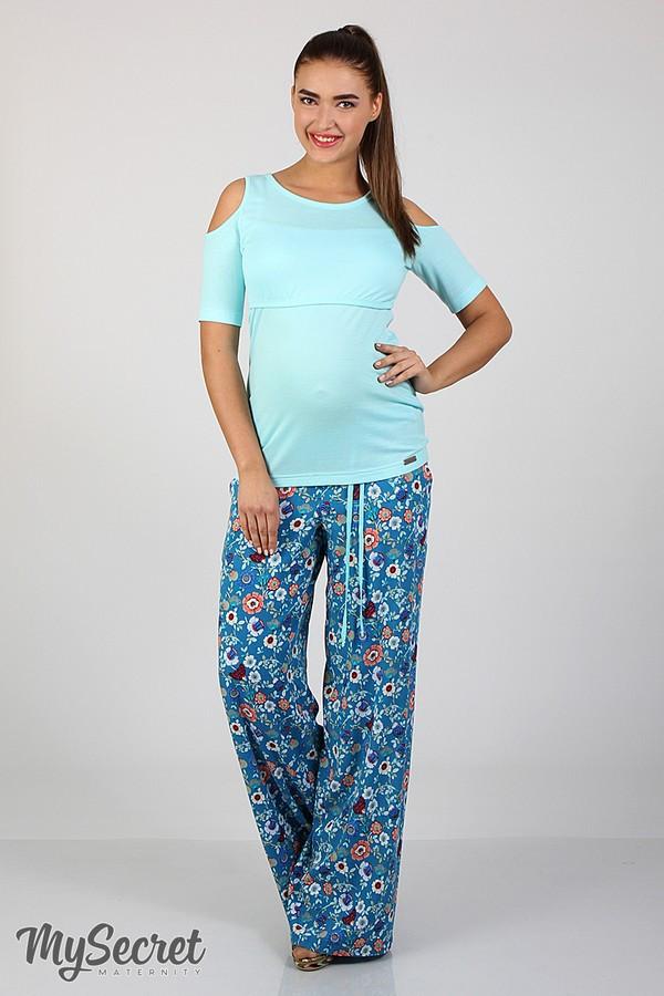 Удобные брюки для беременных в цветочек, размеры от 44 до 50